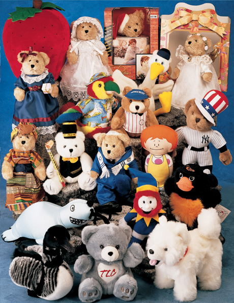 Custom designs stuffed bears and school mascots. The lead time is 75 - 90 days.
