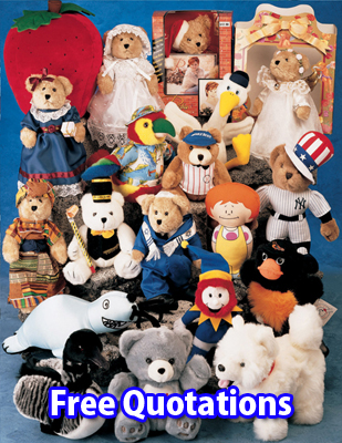 Custom manufatcured plush toys and stuffed animals.