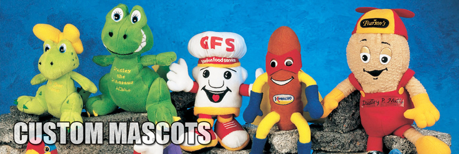 Order custom plush toy mascots for your school, camp, amusement park or business.
