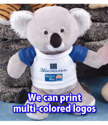 Order a teddy bear with a custom printed multi-colored logo on the t-shirt.