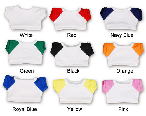 Solid white t-shirts and white t-shirts with colored sleeves. Print a multi-colored logo onto a white background.