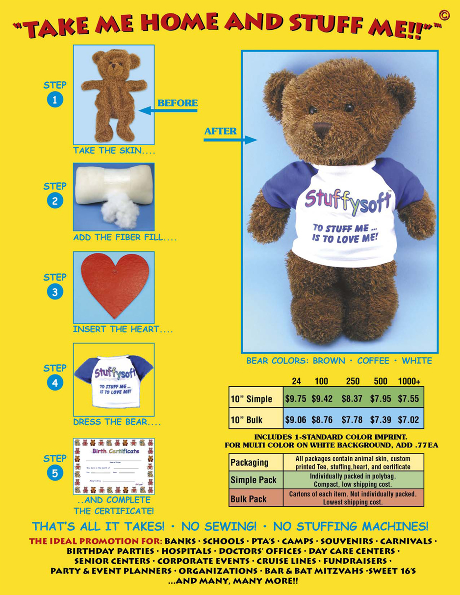 """10"""" unstuffed teddy bears for kids parties and special events."""