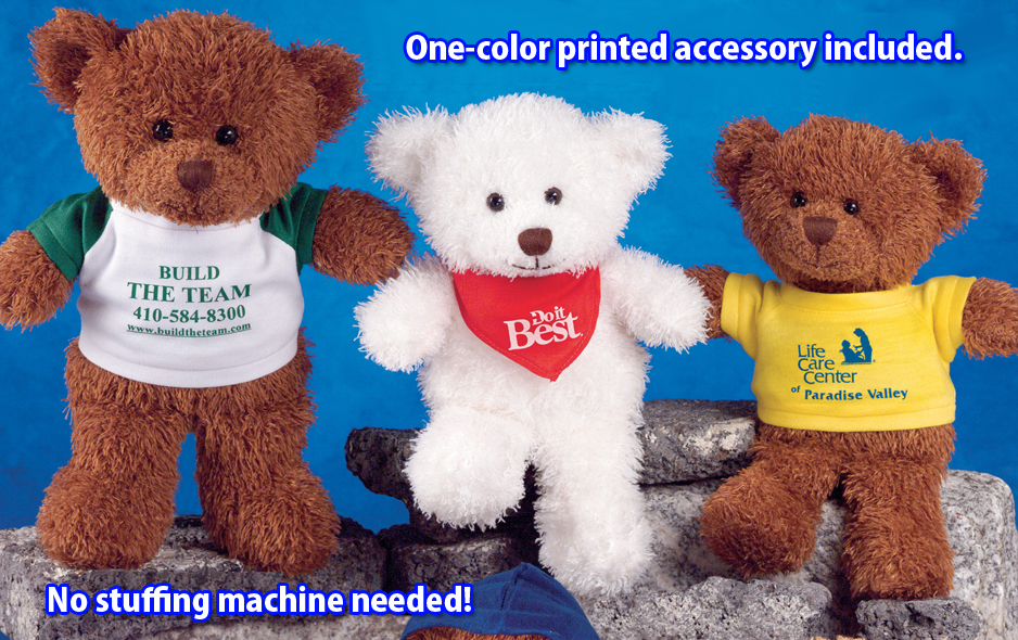 """Choose your printed accessory. Our 10"""" unstuffed bears include a printed accessory."""