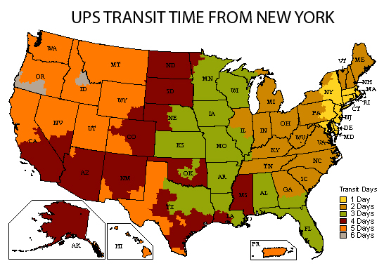 UPS transit times when shipping from New York.